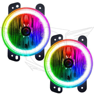 2010-2017 Jeep Wrangler ColorSHIFT LED Pre-Assembled Halo Fog Lights by Oracle™