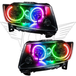 2011-2013 Jeep Grand Cherokee Non-HID ColorSHIFT LED Pre-Assembled Oracle™ Halo Headlights