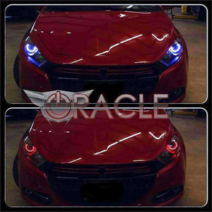 2013-2016 Dodge Dart HID Style ColorSHIFT LED Pre-Assembled Halo Headlights (Black) by Oracle™