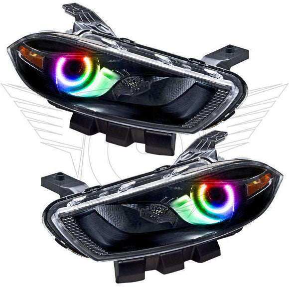 2013-2016 Dodge Dart Halogen Style ColorSHIFT LED Pre-Assembled Halo Headlights (Black) by Oracle™