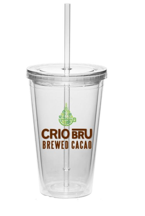 NEW! Crio Bru Classic Tumbler: Double Wall Insulated Acrylic (16 oz)- Clear