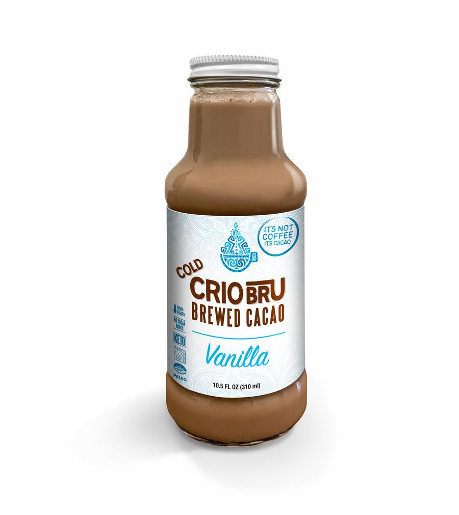 Cold Crio Bru Brewed Cacao: Vanilla & Double Cacao 10.5 oz (VARIETY Case of 4) [NO ADDED SUGAR]