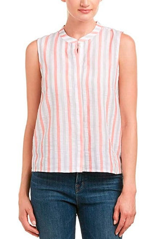 Sleeveless Striped Blouse ~ Orange Crush