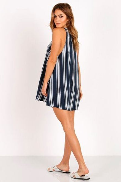 Rancho Mirage Lace Up Dress ~ Navy Stripe