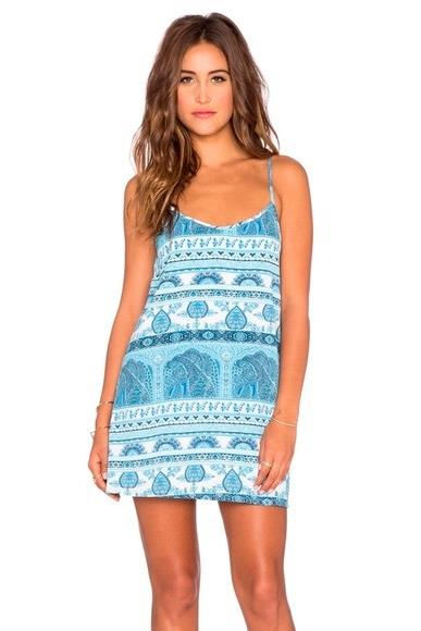 Tenley Tie Dress ~ Boho Blue