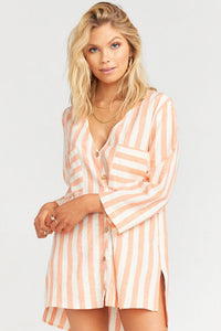 The Dahli Tunic ~ Dreamsicle Stripe Linen