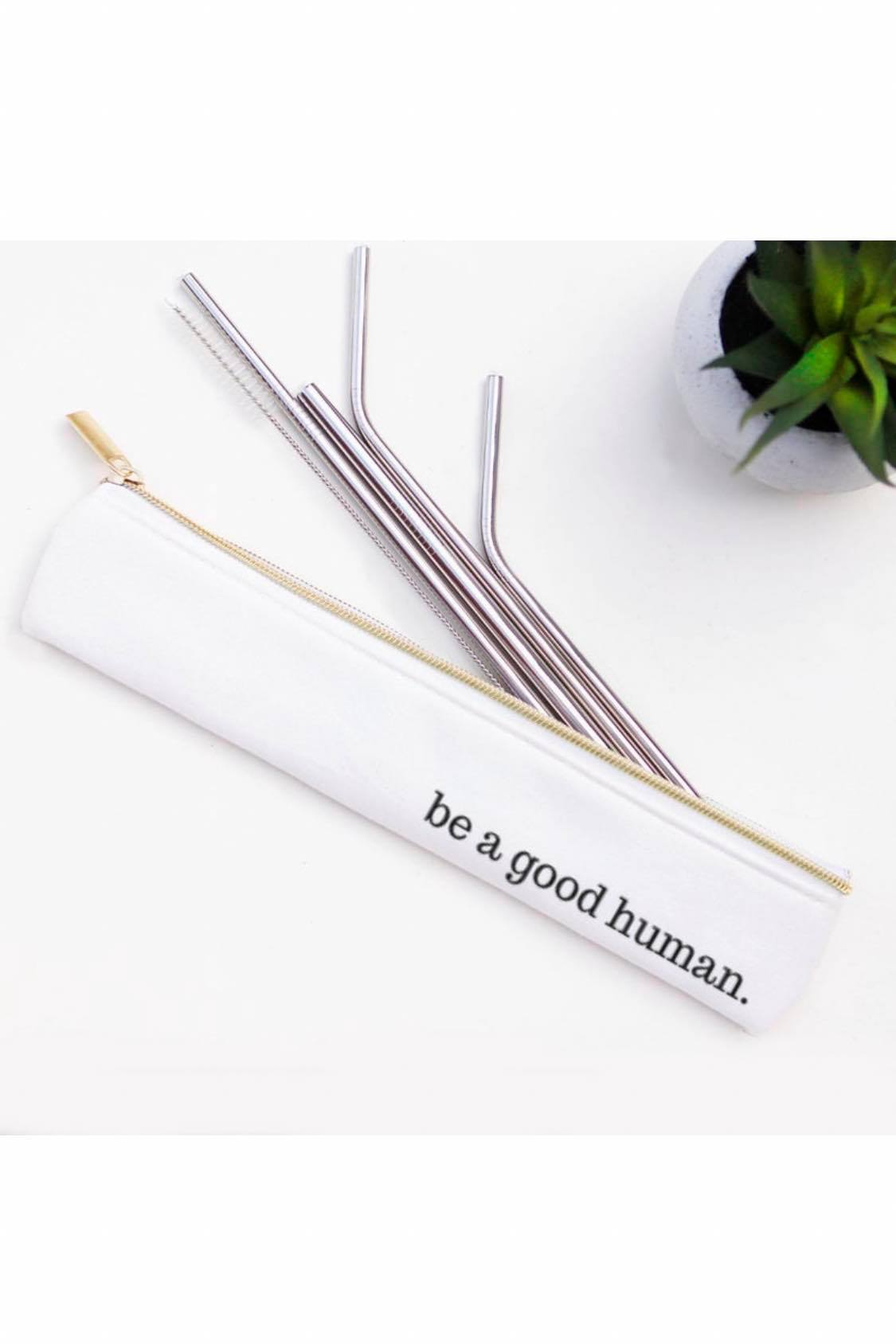 Reusable Straw Set ~ Be a Good Human