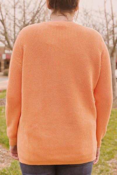 Emma Shaker Crewneck Sweater ~ Orange Zest