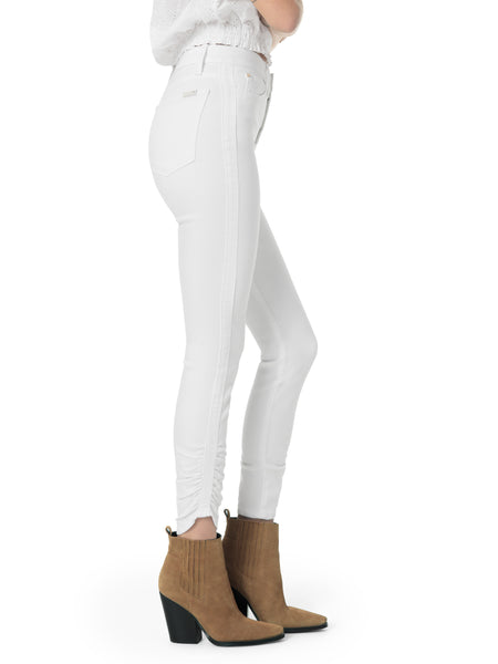 Charlie Gathered Ankle Skinny Jean ~ Hennie White