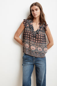 Kimora Sleeveless Printed Blouse ~ Multi