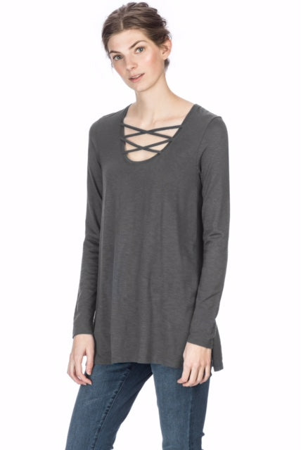 Long Sleeve Laced Neck Tunic ~ Granite