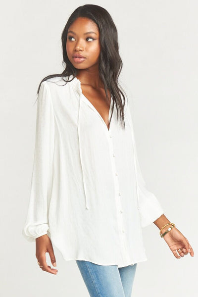 Alicia Tunic ~ White Silky Dots