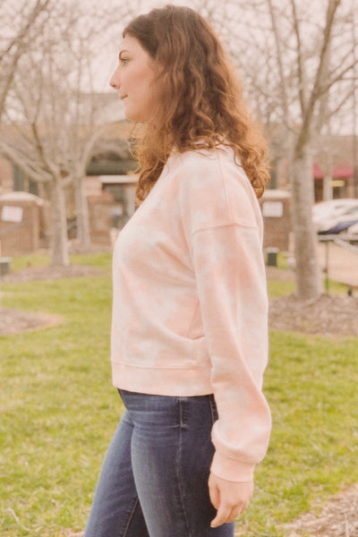 Printed Crew Neck Sweatshirt ~ Peach Haze