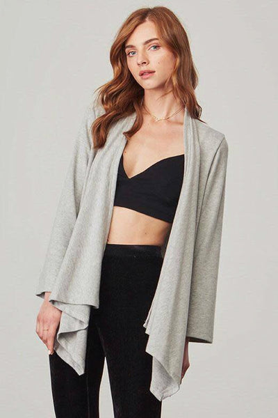 Russel Soft Knit Drape Front Jacket ~ Light Heather Grey