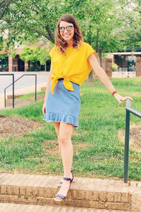 Katrina Linen Top ~ Canary
