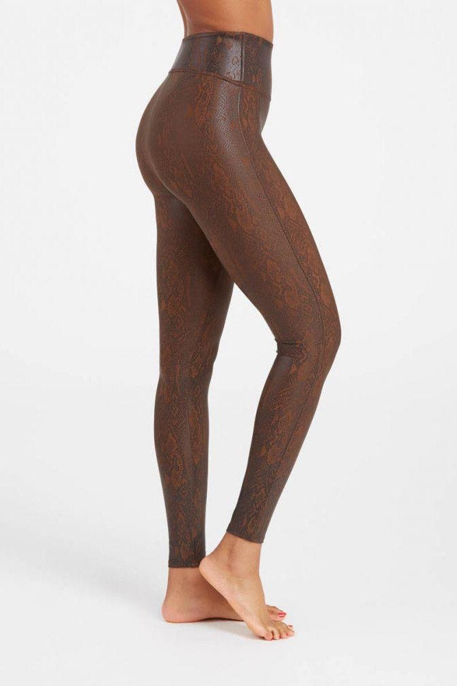 Faux Leather Leggings ~ Brown Snakeskin