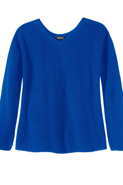 Cotton Shaker V-Neck Sweater ~ Cobalt