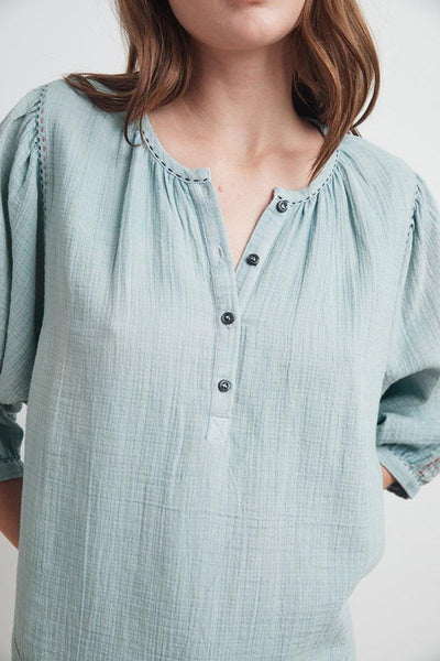 Gabby Peasant Top ~ Pacific Blue