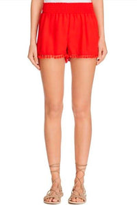 Pom Pom Shorts ~ Bonfire Red