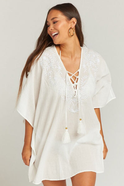 Peta Lace Up Tunic ~ White