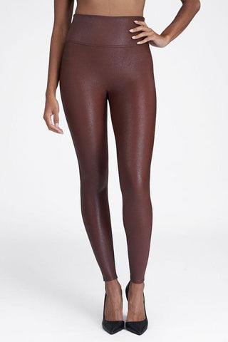 Faux Leather Leggings ~ Mahogany