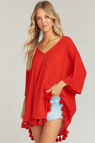 Shook Tassel Tunic ~ Bonfire