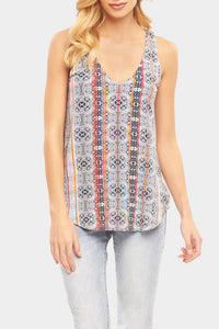 Donatella Top ~ Indigo  Geo