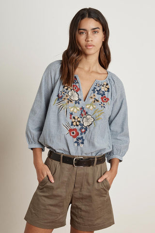 Melia Embroidered Top ~ Chambray Stripe