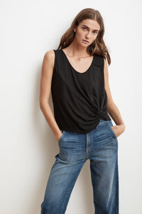 Brielle Knot Front Tank ~ Black