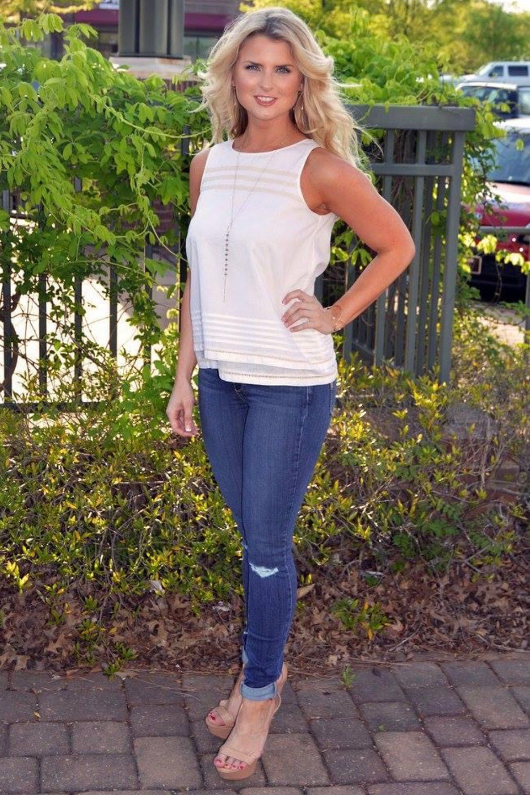 Double Layer Tank ~ White