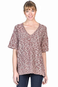V-Neck Tunic ~ Ruby Slub