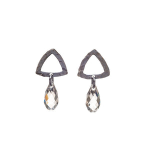 Open Triangle Studs with Crystal Drop
