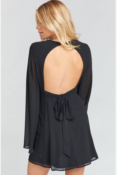 Athena Mini Dress ~ Black Chiffon