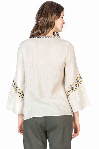 Lace Front Blouse ~ Stone