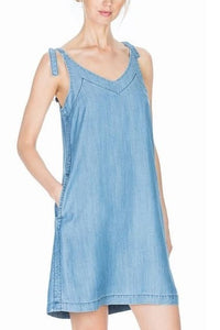 Chambray Tie Strap Dress