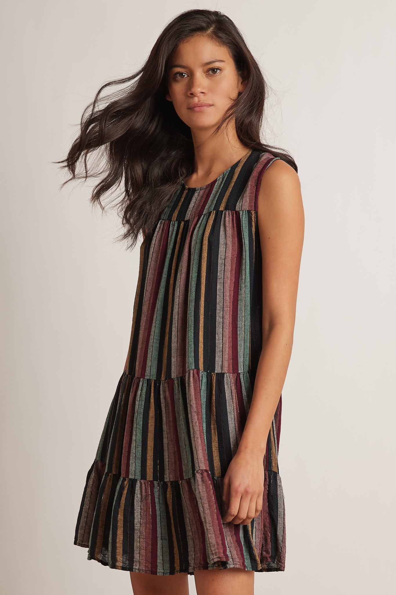 Leighton Sleeveless Dress ~ Multi Stripe