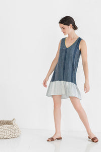 Shift Dress ~ Navy/White