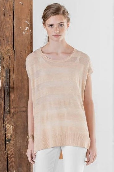 Tonal Stripe Scoop Neck Pullover