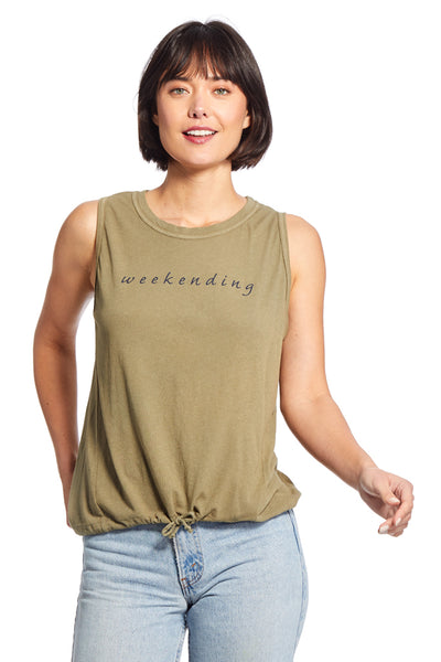 Georgie Tank ~ 'Weekending' Vetiver Green