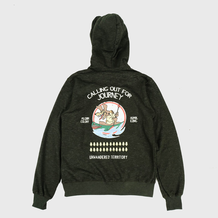 Nose-art Olive Fleece Hoodie