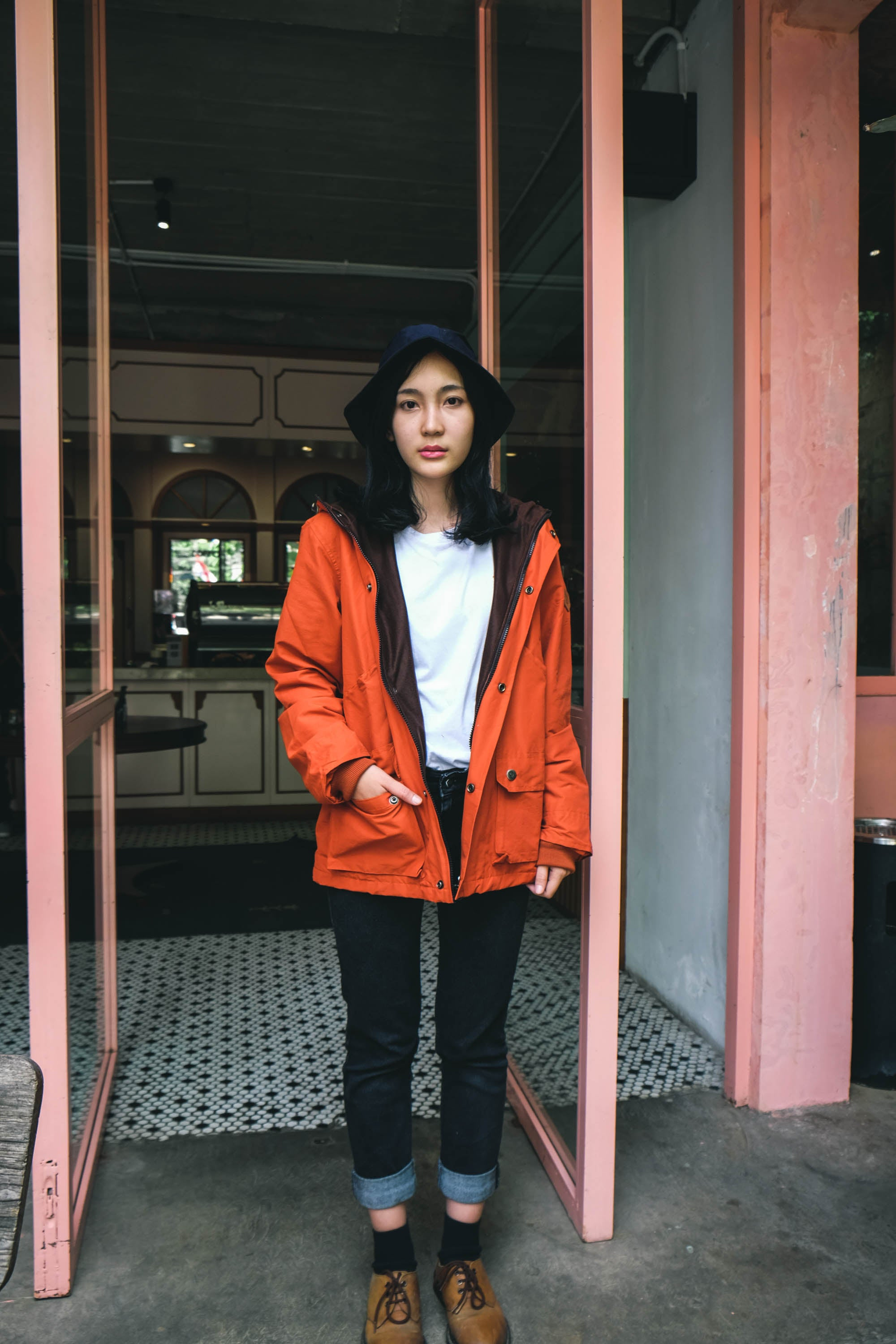 Rapunji Orange Taslan Parka
