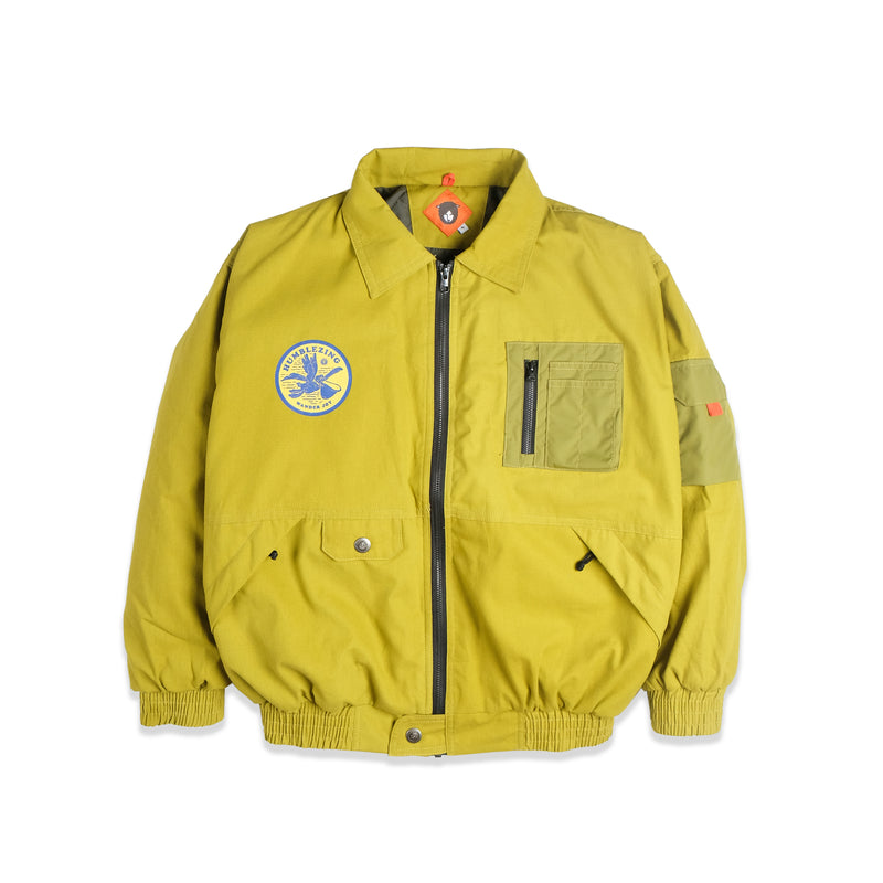 Alpha Lime Canvas Bomber Jacket