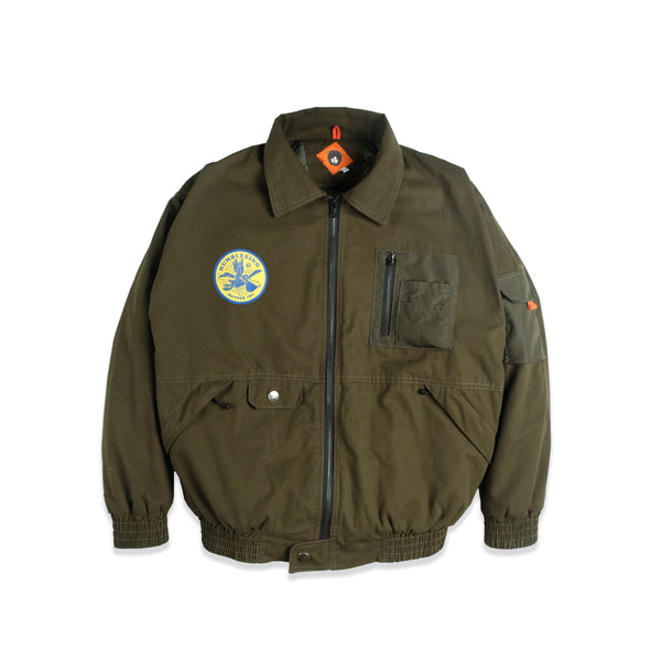 Alpha Olive Canvas Bomber Jacket