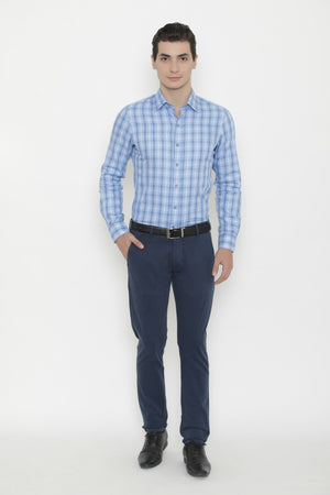 Tattersall Blue & White Checks