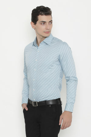 Powder Blue Diagonally Checked Stripes