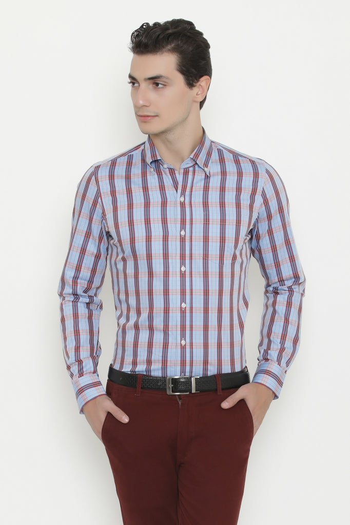 Tattersall Vine & Blue Checks