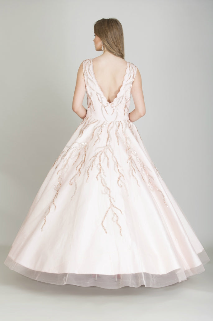 Peachish Pink Designer Ball Gown
