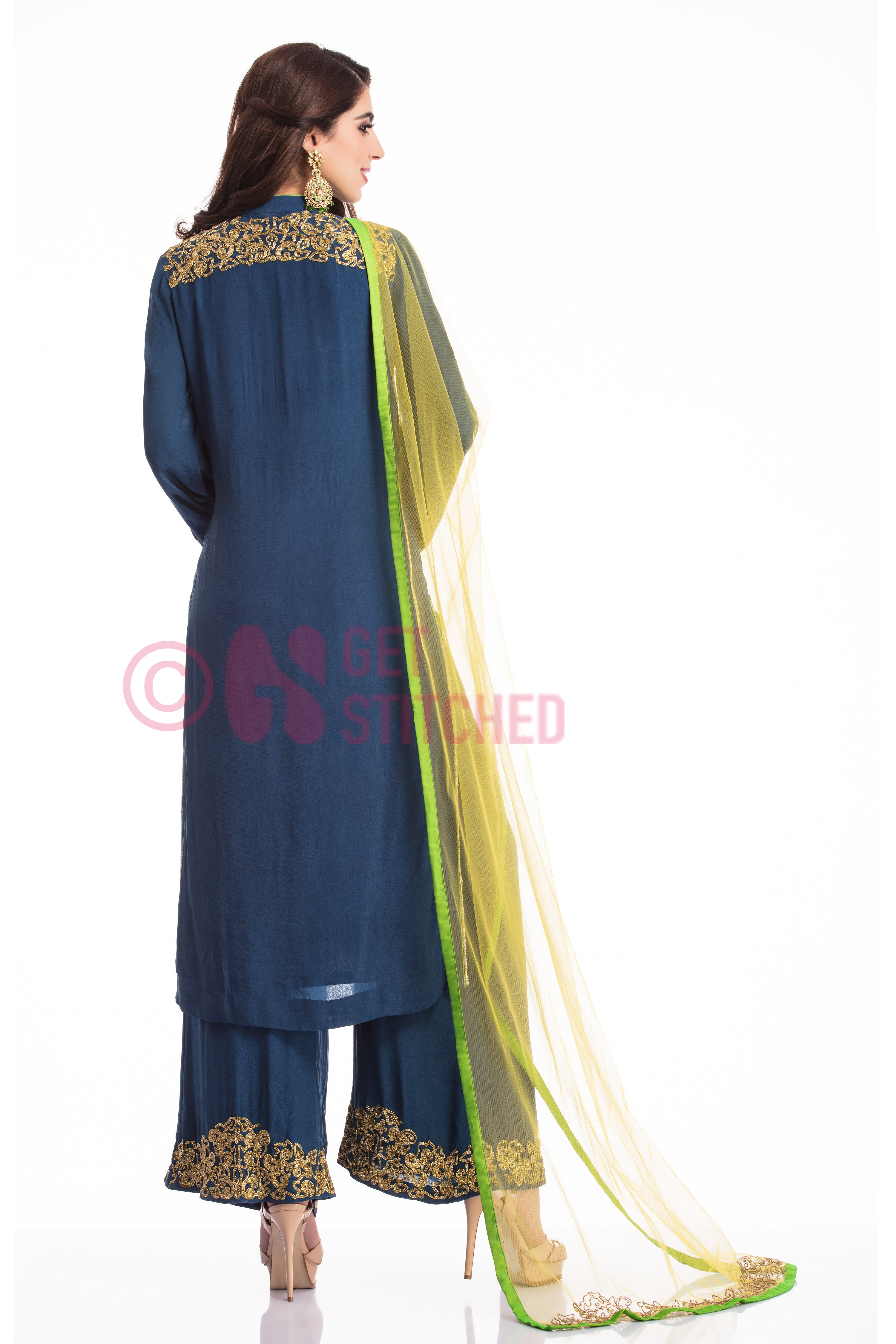 Indigo Blue Suit & Palazzo set with Dupatta back view