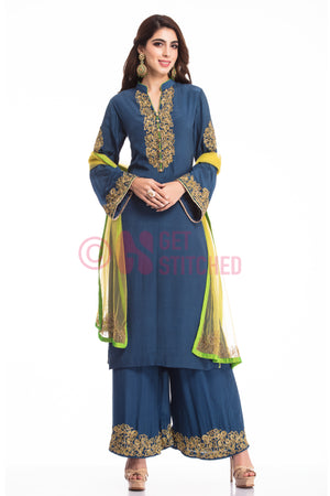 Indigo Blue Suit & Palazzo set with Dupatta at doorstep