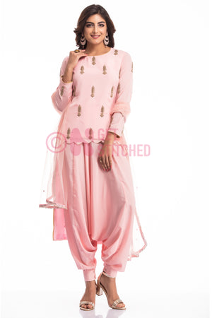 Get Fusion High Low Kurta with Elephant Pants at doorstep